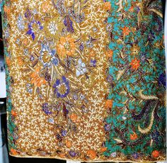 Hand painted, batik sarong  from the north coast of Java. Extraordinary details.