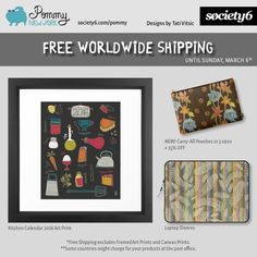 FREE WORLDWIDE SHIPPING on Pommy New York products until Sunday, March 6th. USE PROMO CODE: https://society6.com/pommy/laptop-sleeves?promo=4B3PHCJXPPRJ