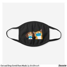 Cat and Dog Covid Face Mask. Black Cotton Face Mask Funny Birds, Snug Fit, Black Cotton, Sensitive Skin, Dog Cat, Cartoons, Stylish, Cats, Cartoon