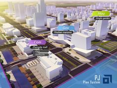 "3d visualization designed for ""PJ"" city plan system. by Liushui"