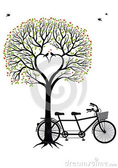 Heart tree with birds and bicycle, vector by Beata Kraus, via Dreamstime