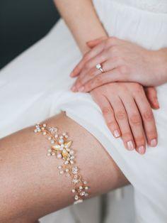 Gold & Pearl Wedding Garter by DavieandChiyo