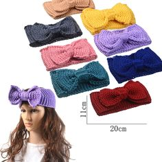 M MISM Fashion Girls Solid Big Bow-knot Headband Knitted Hair Accessories for Women Crochet Turban Head Wrap Stretch Ornaments