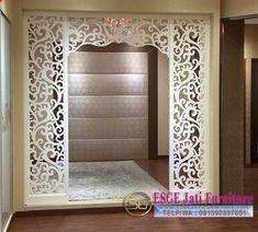 Design Inspirations for a Prayer Room at Home - CasaNesia Living Room Partition Design, Pooja Room Door Design, Room Partition Designs, Jaali Design, Mandir Design, Plafond Design, Puja Room, Prayer Room, Ceiling Design