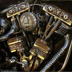 Engraved Shovelhead Painting by Jeff Johnson - Engraved Harley Davidson Shovelhead Painting. Custom Motorcycle Parts, Custom Bobber, Custom Choppers, Custom Harleys, Custom Bikes, Classic Motorcycle, Moteurs Harley Davidson, Harley Davidson Engines, Harley Davidson Motorcycles