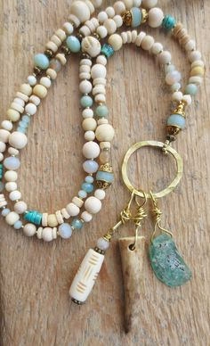 OOAK unique bohemian necklace amulet talisman ethnic tribal bone beads gem stone Agate Jade Turquoise brass Amazonite ancient roman glass Antler von Weibertraum/ DaWanda