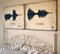 """""""I Do"""" sound wave wall art. Such a beautiful and romantic idea!"""