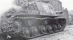 A Soviet self-propelled gun ISU 152 of 349 Battalion Heavy self-propelled guns, moves to support the Rifle Division during the fighting in Breslau, in March Danzig, Isu 152, Eastern Front Ww2, Street Fights, Ww2 Tanks, Red Army, World War Ii, Military Vehicles, Wwii