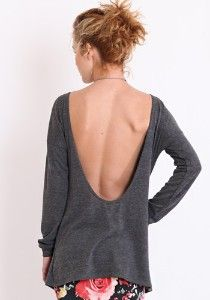 Lamixx Open Back Sweater in Heather Charcoal review | buy, shop with friends, sale | Kaboodle