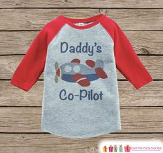 Humorous Boy's Outfit - Red Raglan Shirt - Daddy's Co-Pilot Airplane Onepiece or Tshirt - Novelty Raglan Tee for Baby Boys, Toddler, Infant