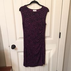 "Ann Taylor LOFT purple black animal print dress Excellent condition! Ann Taylor LOFT scrunch ruched on the side. So comfortable. Care tag removed but it feels like cotton. Size is Small. Colors are purple and black. Measures approx 15-16"" underarm - underarm and approx 39-40"" length from top of shoulder to the bottom Ann Taylor Dresses Midi"