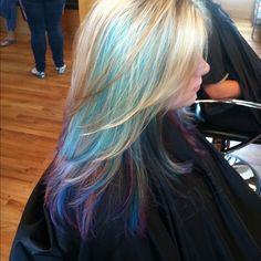 blonde hair teal highlights- love it :) Teal Highlights, Blonde Hair With Highlights, Peacock Hair Color, Fashion Models, Edgy Haircuts, Hair Loss Causes, Bayalage, Hair Loss Women, Mermaid Hair