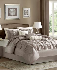 Madison Park Laurel Queen 7 Piece Comforter Set in Navy - Olliix beautifully tufted bed is from the Laurel bedding collection. Its deep navy coloring makes this set create a statement in your bedroom. The collection is made from polyest Bed Sets, Full Comforter Sets, Duvet Cover Sets, Bedding Sets, Grey Comforter, Purple Bedding, Queen Bedding, Navy Bedding, Bedroom Comforters