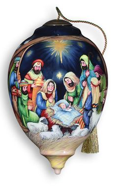 Blessed Nativity Ornament Ne'Qwa Art Christmas Manger Joseph Mary Shepherds New #NeQwaArt