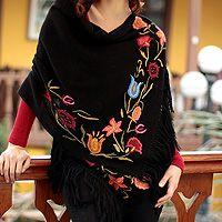 100% alpaca shawl, 'Tarma Night' by NOVICA