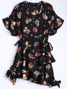 Floral Bowknot Chiffon Asymmetrical Dress - Black L