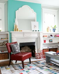 Combat gloomy winter days with bright accents like this Minty Green fireplace surround from @Michael Wurm, Jr. {inspiredbycharm.com}  Via MyColortopia.com
