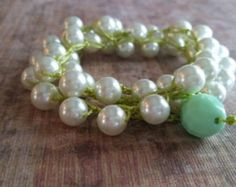 Chic Boho Wrap Bracelet necklace stack chic jewelry crochet pearl off white cream lime green