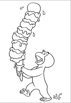 George The Monkey Bringing Ice Cream Coloring Pages