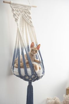 # Crochet for interior decoration Macrame cat hammock Woven wall hanging do .- You for the interior decoration Macrame cat hammock Woven wall hanging dog bed Dip dye macrame cat swing Cat lover birthday gifts boho large pet furnitures supplies toys - Macrame Art, Macrame Design, Macrame Projects, Macrame Supplies, Macrame Knots, Macrame Mirror, Macrame Curtain, Woven Wall Hanging, Hanging Hammock