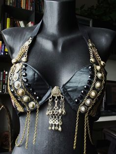 Vertical design, I like it.   Tribal Fusion Belly Dance Custom Bra Totally by siphonophoria, $150.00