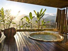 whirlpool-bath-basin-terrace-decking-layouts Outdoor Jacuzzi and out of doors spa - 100 ideas for one in your patio! Jacuzzi Outdoor, Outdoor Spa, Outdoor Living, Outdoor Decor, Deck Jacuzzi Ideas, Jacuzzi Bathroom, Bathroom Tubs, Bath Tub, Beach House Decor