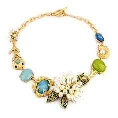 EUR € 14.99 - Lyx Spring Pearls Flowers Snigel Guldpläterade Alloy Halsband (ljusblå) (1 st), Gratis frakt för alla Gadgets!