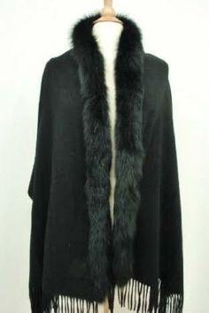 Jet Black Cashmere Cape Wrap Shawl with One Side Fox Fur Trim (T-1) by NovoAndina. $205.00