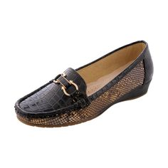 First Sight - Women's Round Buckle Crocodile Comfort Shoes - Black