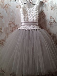 Platinum flower girl tutu dress crochet tutu dress toddler by Qt2t