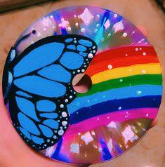 Rainbow Painting, Butterfly Painting, Rainbow Art, Cd Wall Art, Cd Artwork, Vinyl Record Art, Vinyl Art, Cd Diy, Indie Art