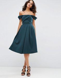 ASOS | ASOS Fold Detail Bardot Scuba Prom Dress