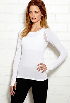 Mesh-Trimmed Active Top | FOREVER21 - 2000072036