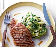 Griddled gammon served with green cabbage and mashed potato mixed together