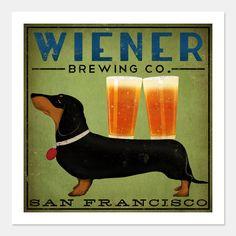 DACHSHUND Wiener Dog Brewing Company graphic art giclee print Etsy.