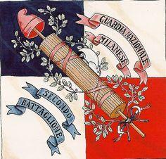Bandiera della Guardia Nazionale di Milano 2° Btg. 1796 (fronte) Giuseppe Garibaldi, Kingdom Of Italy, France Flag, Flag Art, French Revolution, Napoleonic Wars, Revolutionaries, Liberty, History