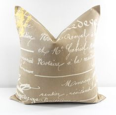 SALE Penmanship Pillow Cover. Sunny by TwistedBobbinDesigns
