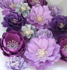 Paper Flowers - Wedding - Birthday - Special Events - Set of 24 - Shades of Purple - Mixed Sizes - Made To Order Large Paper Flowers, Paper Flowers Wedding, Crepe Paper Flowers, Paper Flower Backdrop, Giant Paper Flowers, Big Flowers, Fabric Flowers, Floral Flowers, Fresh Flowers