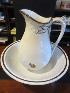 Ironstone Lily of the Valley with Tea Leaf Pitcher and Basin Set by Shaw