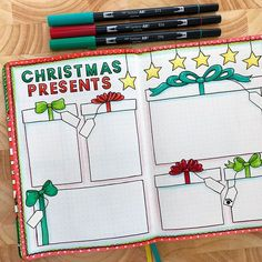 Christmas presents bullet journal page by Kate Hadfield – artsy bujo layouts and ideas!