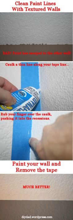 "Getting Clean Paint Lines With Textured Walls is part of Home repairs - Have you ever gone to paint a wall and taped off your area, painted your wall with the perfect color then found that your nice chocolate brown wall has ""blead"" onto the next wall … Painting Tips, House Painting, Painting Walls, Wall Paintings, Faux Painting, Painting Furniture, Spray Painting, Painting Textured Walls, Cooler Painting"