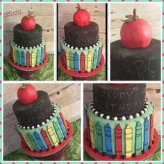 Teacher chalk board cake