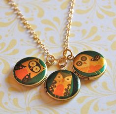 Unbelievably adorable vintage locket trio with owl screen prints. Last locket pin for a while, I promise!