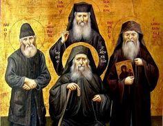 An icon of modern Greek elders. Byzantine Icons, Byzantine Art, Religious Icons, Religious Art, Holy Saturday, Roman Church, Religion, Christ Is Risen, Orthodox Christianity
