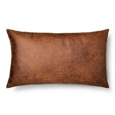 Throw Pillow Faux Leather Oversized Oblong Brown - Threshold™ : Target