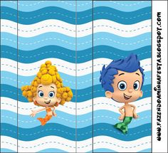 Right click and save as (site is in spanish) Bubble Guppies, Party Printables, Free Printables, Candy Bar Wrappers, Guppy, Party Bags, Birthday Decorations, 2nd Birthday, Ideas Para