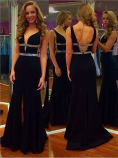 Buy Sexy Royal Blue Floor-length Deep V-Neck Beading Slip Prom Dress Special Occasion Dresses under US$ 142.99 only in SimpleDress.