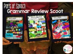 iPad parts of speech grammar review scoot - fun iPad game for the paperless classroom using the free iPad app PicCollage