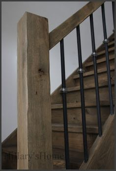 Rustic Staircase, Staircase Design, Farmhouse Stairs, Farmhouse Chic, Stairs In Living Room, Wrought Iron Stairs, Wood Steps, Stair Makeover, Stair Landing
