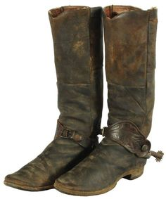 Pair 19th Century Cowboy Boots With Spurs
